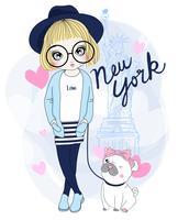 Mão desenhada linda garota com pug em Nova York vetor