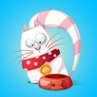 Gatos engraçados, bonitos dos desenhos animados. Animal come da tigela. vetor