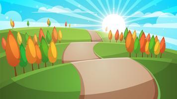 Paisagem da floresta dos desenhos animados. Ilustração da estrada. vetor