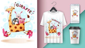 Girafa, pinguim, coelho, porco - maquete para sua ideia vetor