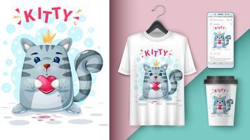 Gato e balão - maquete para sua ideia vetor
