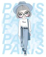 Mão desenhada linda garota de óculos grandes com tipografia de Paris vetor
