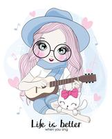 Mão desenhada linda garota segurando guitarra com gato vetor
