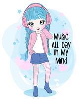 Mão desenhada linda garota usando fones de ouvido com tipografia