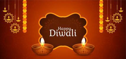 Design elegante marrom feliz de Diwali