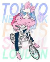 Mão desenhada linda garota andando de bicicleta com tipografia no fundo vetor