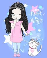 Mão desenhada linda garota e gato usando coroas vetor