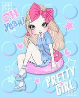 Mão desenhada linda garota com sorvete de melancia e doodle fundo vetor