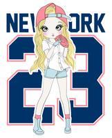 Mão desenhada linda garota de beisebol com tipografia vetor