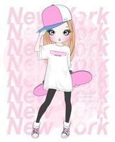 Mão desenhada linda garota segurando o skate com tipografia de Nova York vetor