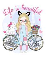 Mão desenhada linda garota com bicicleta e gato vetor