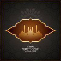 Feliz Muharran elegante mesquita islâmica design
