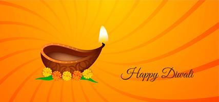 Feliz Diwali brilhante design espiral amarelo e laranja vetor