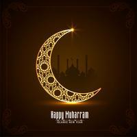 Feliz Muharran cartão com lua brilhante