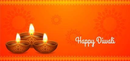Feliz Diwali design laranja bonito