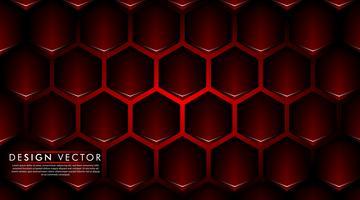 Abstrata vermelha bandeira no design do padrão de hexágono preto