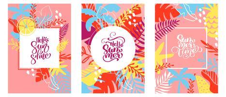 Três cartões com texto em moldura floral tropical folhas