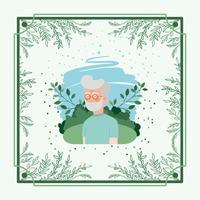 Cartão de homem idoso com moldura de ervas