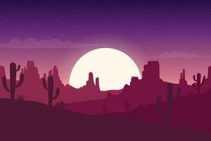 Paisagem do deserto à noite com fundo de silhuetas de cactos e colinas
