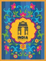 templo do portão indiano com fundo floral