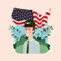 militar com bandeira EUA no campo
