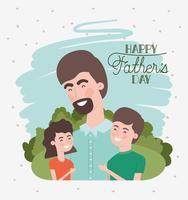 feliz dia dos pais cartão com pai e filhos vetor