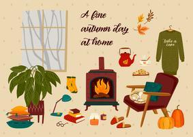 Ilustração de Outono com coisas fofas caseiras