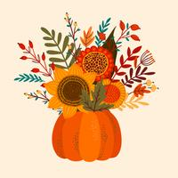 buquê de flores de outono em abóbora vetor