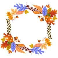 Quadro de folhas de outono floral para cartão ou cartaz