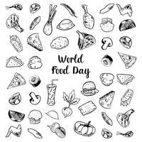 Dia Mundial da Alimentação com elementos de carnes e legumes