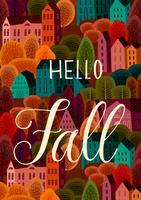 Olá Outono com Autumn City vetor
