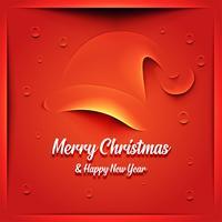 Cartão de Natal com chapéu de Papai Noel vetor