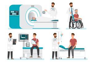 Conceito de equipe de equipe médica em exames hospitalares vetor