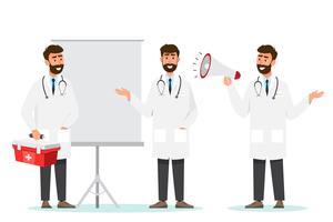 Conjunto de personagens de desenhos animados de médico vetor