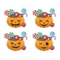 Conjunto de abóboras de Halloween com quatro rostos diferentes cheios de doces