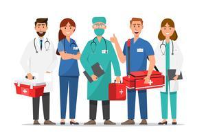 Conjunto de personagens de desenhos animados de médicos e enfermeiros vetor