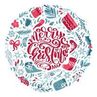 Feliz Natal letras caligráficas mão escrita texto vetorial