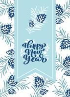 Feliz ano novo letras caligráficas mão escrita texto vetorial