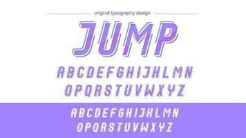 Tipografia de ação em itálico em ângulo roxo vetor