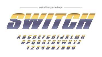 Tipografia de esportes metálico cinza amarelo