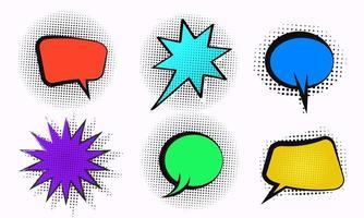 Bolha de discurso em quadrinhos de vetor definido com meio-tom