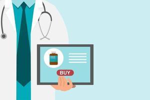 fundo de farmácia com médico segurando um tablet para comprar remédio