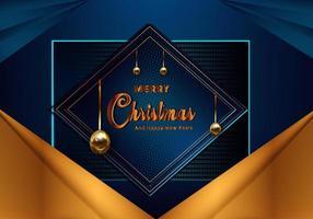 Fundo azul de Natal com borda de folha de ouro vetor