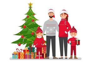 Família celebrando o Natal vetor
