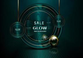 venda verde brilho 3d plano de fundo escuro vetor