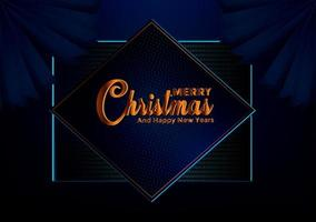 Fundo azul escuro de Natal com borda feita de estrelas de folha de ouro de recorte e flocos de neve prateado vetor