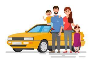 Família feliz, viajando de carro