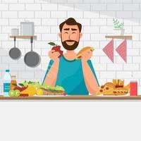 O homem está comendo alimentos saudáveis e junk food