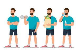 conjunto de homem exercitar-se no ginásio e comer saudável vetor