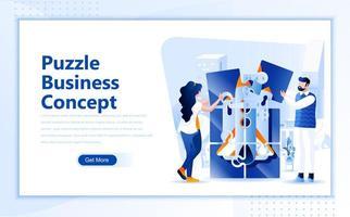 Quebra-cabeça negócios conceito design plano de página da web vetor